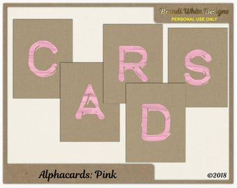 Digital Alphabet: Journal Cards - Pink