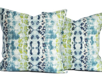 Two high quality Ikat pillow covers, Navy pillow, cushion, decorative throw pillow, decorative pillow, lime green turquoise Pillow