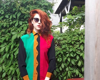 Early 1990s Vintage Color Block Button-Down Silk Shirt