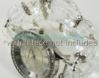 Crystal Clear.. Sparkly Clear Faceted Acrylic and Silver Interchangeable Beaded Watch Band