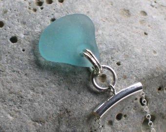 Rare Aquamarine Sea Glass Sterling Silver Pendant Necklace  (779)