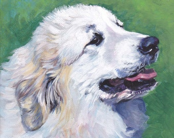 Great Pyrenees portrait CANVAS print of painting by LA Shepard 12x12 dog art