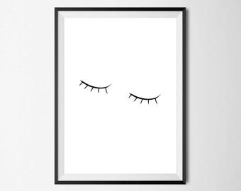 Sleepy Eyes - Wall Art, Home Decor, Bedroom Print