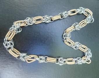 Chunky Necklace. Chain Necklace. Big Links Chain. Chunky Chain. 2 tone necklace. Silver Gold Necklace. Textured Necklace. 1980s Necklace.