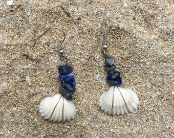 Clamrose shell earrings with navy beads