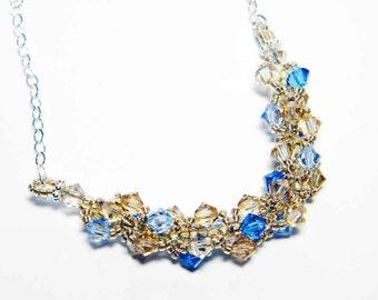 "Sapphire and Gold Swarovski Necklace Light Sapphire Golden Shadow Light Colorado Topaz Beadweaving Sterling Silver - ""Winter's Gold"""