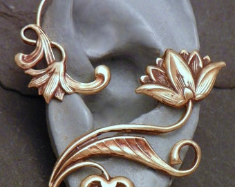 Golden Flower Ear Wrap  -  LOTUS SERENITY  -  Intricate Brass Ear Cuff