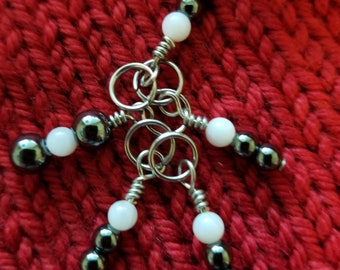 Stitch Markers. Set of 5 Glass beaded markers.