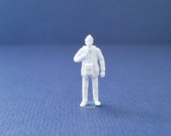 CUSTOMIZABLE Unpainted Man with Bag Miniature Person Terrarium World People HO Scale Hand painted One of a Kind Railroad Figure