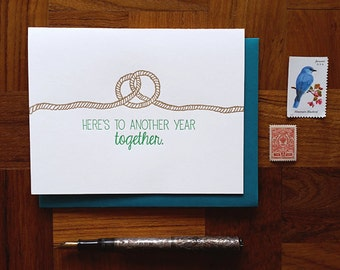 Here's to Another Year Together, Letterpress Note Card, Blank Inside