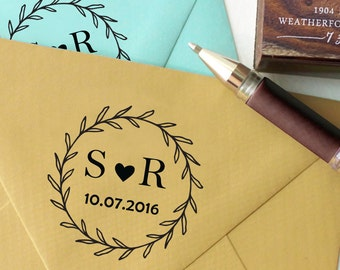 Self Inking Wedding Stamp, Round Wedding Stamp, Custom Wedding Stamp, Invitation Stamp, Save The Date Personalized Rubber Stamp HS181P