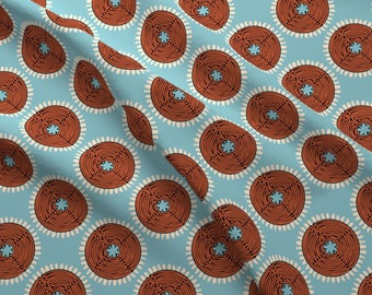 Abstract Fabric - African Labyrinth Blue Brown By Cassiopee - Modern Home Decor Tribal Geometric Cotton Fabric By The Yard With Spoonflower