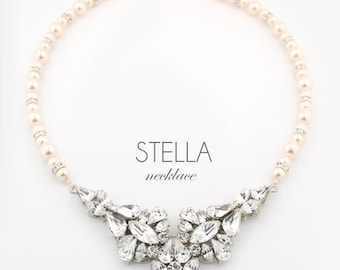 Wedding necklace - bridal jewelry necklace - statement wedding necklace - couture bridal jewelry - pearl necklace - Stella necklace