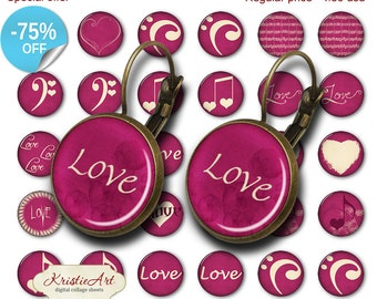 75% OFF SALE Valentine's Day - 18mm, 16mm, 14mm, 12mm, 10mm Circles Digital Collage Sheets E-021 Printable Love Earring, Rings, Jewelry
