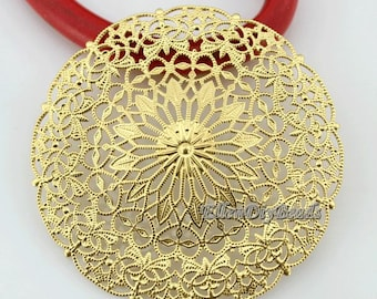 DIY Jewelry Making,5 Pieces Antiqued Gold Plated Filigree Brooch Flower, Vintage Style Brass Golden,Jewelry Findings--BN031