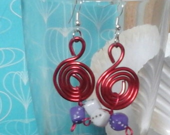 Red (purple and white dice) 2mm aluminum wire swirls of dice earrings