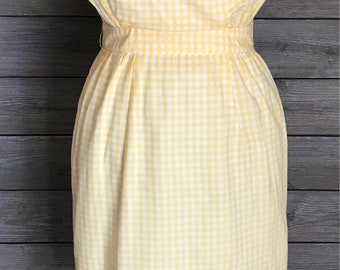 1960's Yellow and White Gingham Wiggle Dress - Gigi Young New York - Size Small