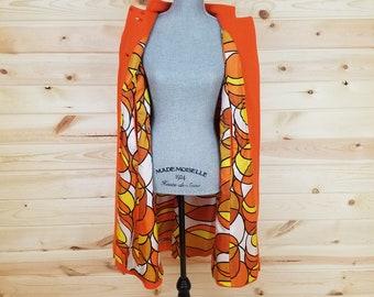 Super Retro Orange Cape with Groovy Interior Fabric