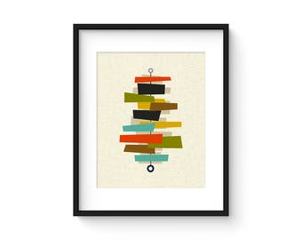 FOUNDATION - 8x10 Version - Giclee Print - Mid Century Modern Danish Modern Minimalist Cubist Modernist Abstract Eames