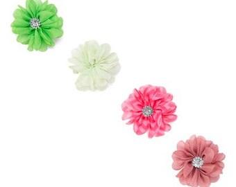 Set of Four Chiffon Flowers Embellished with a Rhinestone