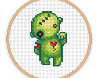 BLEEDING HEART ZOMBIE: a pixel art counted cross stitch pattern - digital download - printable pdf file