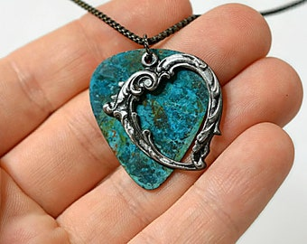 Guitar pick necklace, Steampunk necklace, sterling silver, patina necklace, blue patina, victorian necklace, music gift, OOAK necklace