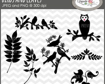 50%OFF Bird clip art, owl clip art, leaves clip art, bird on branch clip art, digital stamp, bird digital stamps, owl digital stamp, DS10