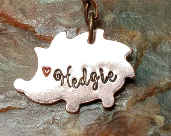 Hedgehog Personalized Hand-Stamped Copper Key Ring Keyring with Gift Box and Gift Pouch