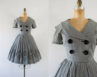 1960s A Day Of Travels plaid cotton dress / 60s black & white