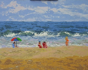 "Beach Scene, acrylics on canvas panel, 8""x10"", plein air, original, free shipping"