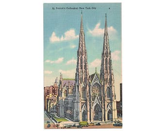 St Patricks Cathedral New York City vintage linen postcard | Catholic church, Gothic architecture | 1950s NYC vacation travel souvenir decor