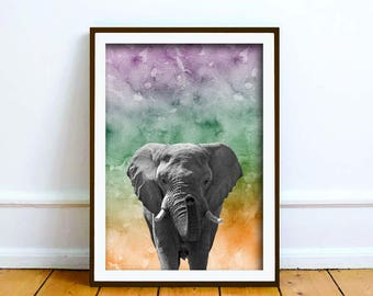 Elephant Print, Nursery Print, Nursery Wall Decor, Elephant Wall Art, Nursery Wall Art, Animal Wall Art, Animal Wall Decor, Watercolor,