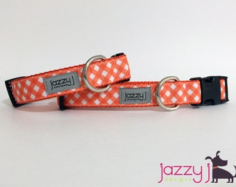Orange and White Checkered Plaid Dog Collar (Tennessee Vols Volunteers TN and Full Sail University)