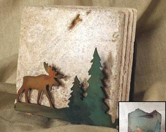Natural Travertine Coasters w/ Organic Patina Holder - Moose