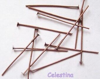 100 x Copper Tone Head Pins 35mm x 0.7mm Iron Flat Head Header Pins - HP24