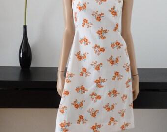 dress vintage 70's White/Orange size flowers 40 / uk 12 / us 8