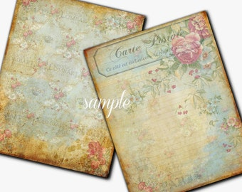 Instant Download 8.5x11  Antiqued Dreamy Papers - Set of 2 -  Printable Digital Collage Sheet - Digital Download Scrapbooking