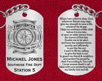 Firefighter Keychain with Prayer, Great Gift, Personalized FREE with Name and Dept.