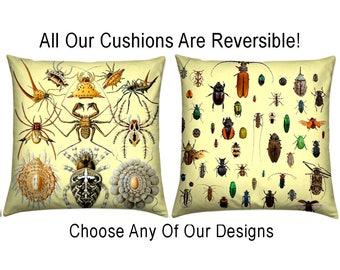 Insect/Bug Cushion Cover, Vintage Print Cushion, Unique Design Print, Decorative Pillow, Retro Cushion, Unique Print Cushion, Home Decor
