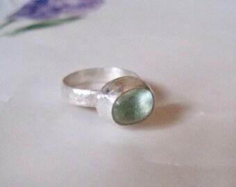 Aquamarine ring, aquamarine ring in silver, moss green aquamarine ring, March birthstone ring, size 6.5 ring, silver and aquamarine ring
