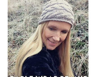 Knitting Pattern - Cable Wrap Beanie - Hat - Instant Digital Download - PDF -