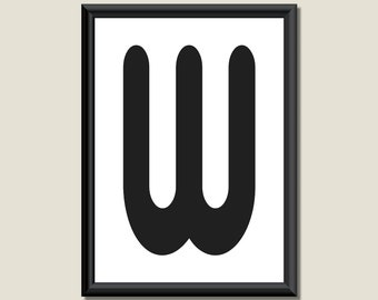 Typography Digital Print Monogram Initial Wall Art Zarista Letter W