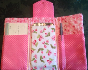 Cell phone case, checkbook case, fabric cell case, cell wallet