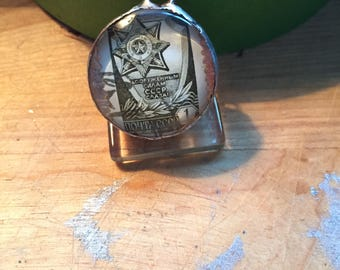 Double-Sided Unique Handmade Vintage Postage Stamp Glass Pendant