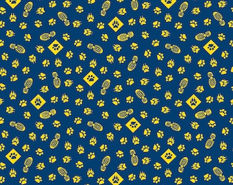 SALE Cub Scouts Paws Navy Blue - Riley Blake Designs - Boy Scouts Paw Prints Footprints Yellow - Quilting Cotton Fabric - choose your cut