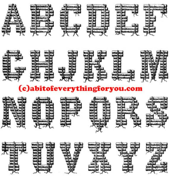 Alphabet letters logs ABC printable art clipart png downloadable digital download large image nursery room childrens graphics print