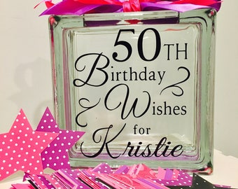 50th Birthday Wish Block - Wish Jar - hot pink and bright purple with black Themed or choose your colors! Unique Guest Book for a Birthday