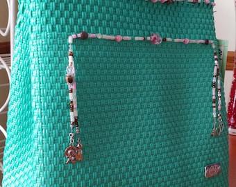Turquoise multipurpose handmade handbag
