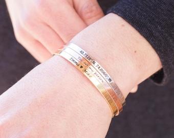 Personalized Cuff Bracelet Friendship Bracelet inspirational bracelet teacher gifts Custom Bracelet Custom Bangle Bracelet