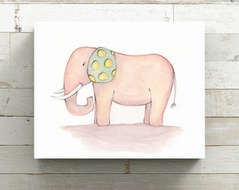 Happy Elephant Watercolor Canvas Print - Pink Elephant Canvas - Nursery Art - Original Art by Angela Weber